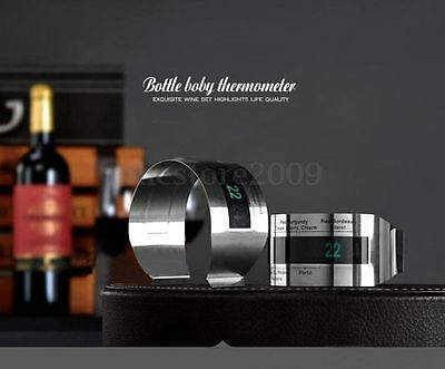 NEW Silver Stainless Steel LCD Digital Red Wine Thermometer Bracelet Temperature