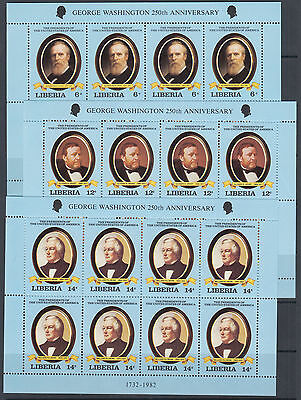 Liberia Sc 912-921 MNH. 1981 US Presidents, mini sheets of 8, fresh & VF