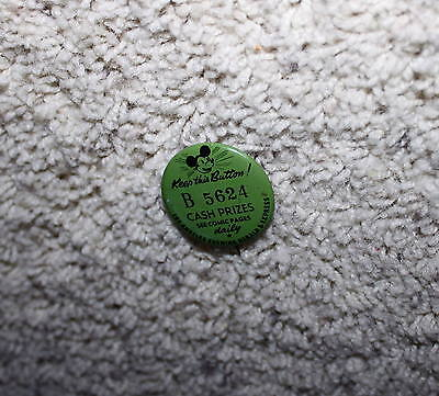 """RARE EX!DISNEY1930'sMICKEY MOUSE""""TIN PINBACK""""PROMOTIONAL""""BUTTON+BACKPRINT+NUMBER"""