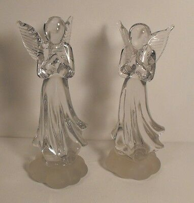 Two (2) Handmade Clear Crystal Angels With Frosted Cloud Base