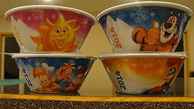 2014 Set Of 4 Olympic Kelloggs Cereal Bowls Collectible New Rare Collectible!!