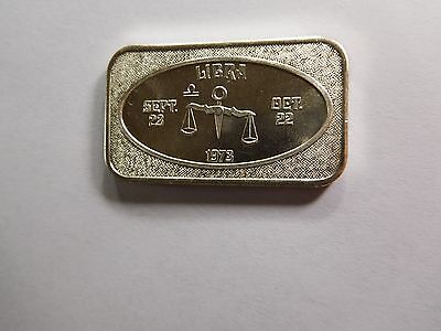 Libra Scales Zodiac Astrology 1973 Vintage Ussc 999 Silver Bar Coin Rare Cool
