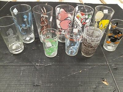 vintage Pepsi glass lot of 10 Bugs Wil E Coyote Davy Crockett Archie Road Runner