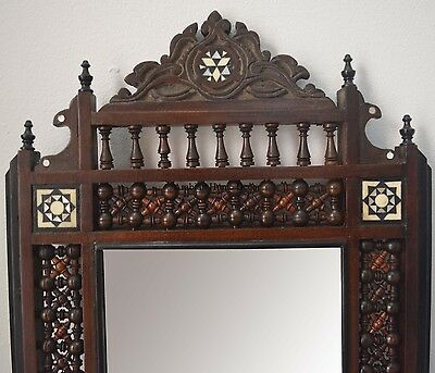 Vintage Handcrafted Egyptian Middle Eastern Moroccan Wood Wall Mirror Frame