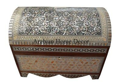 Handcrafted Egyptian Mother of Pearl Inlaid Wood Jewelry Box Chest Trunk
