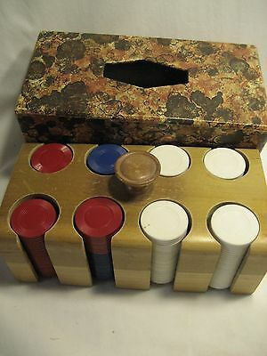 Vintage wood case with plastic poker chips
