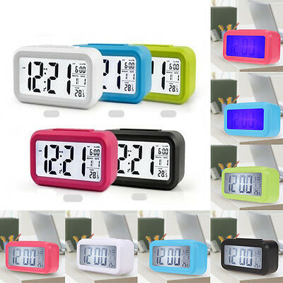 Electronic Digital LED Snooze Alarm Clock Time Calendar Thermometer Backlight