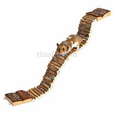 Natural Flexible Wooden Ladder Suspension Bridge Hamster Mouse Rat Rodents Toys