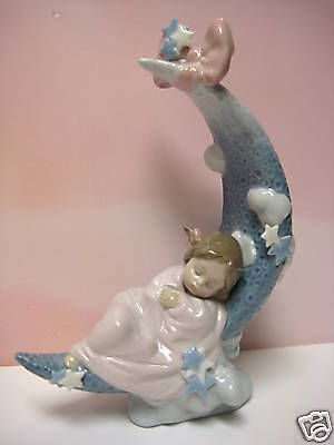Heaven's Lullaby Baby Girl On Moon By Lladro  #6583