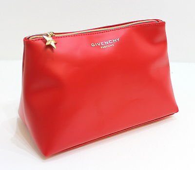 Givenchy Parfums Big Trapezium Red Pouch /cosmetic / Make-Up Bag With Gold Zip