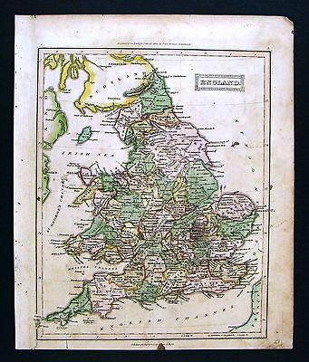 c 1824 Ewing Antique Atlas Map England Wales London Liverpool Bristol Britain UK