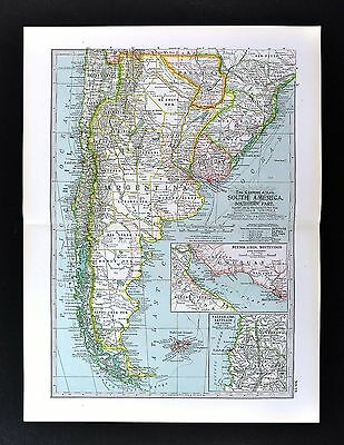 1898 Century Map - Argentina Chile Uruguay Buenos Aires Paraguay - South America