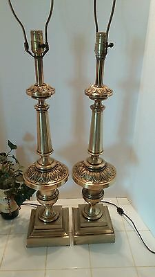 "2 Vintage The Stiffel Company Table Lamps Floral Leaf 28 1/2"" Tall Brass Tone"