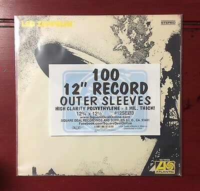 """100 LP Record Outer Sleeves 3mil Thick High Clarity 12"""" Vinyl Album Covers 33rpm"""
