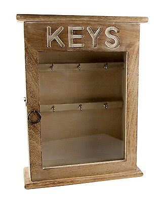 Shabby Chic Vintage Wooden Key Box Cabinet Holder Key Safe Wall Mounted Security