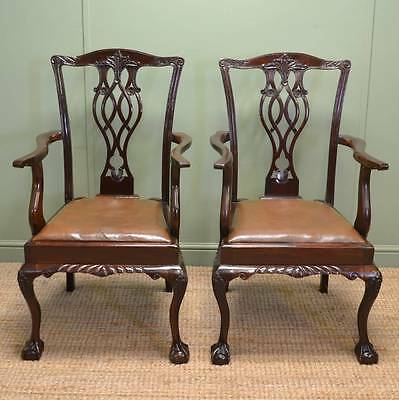 Sensational Pair of Walnut Edwardian Chippendale Design Carver Side Chairs