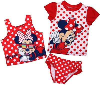 3 Piece Disney Minnie Mouse Sunsafe Swimwear Tankini Set, UPF 50+ 3 4 5 6 Years