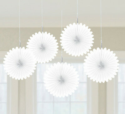 5 x Pretty White paper fans hanging decorations Hawaiian Party FREE P&P