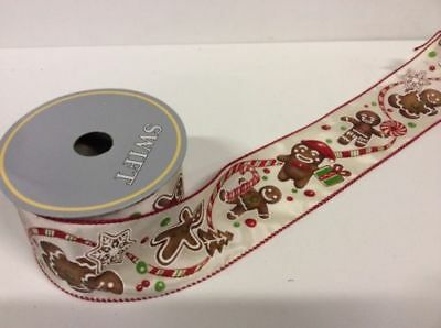 New 10yd Roll Gingerbread Quality Fabric Wire Edge Christmas Ribbon 2.5in Wide