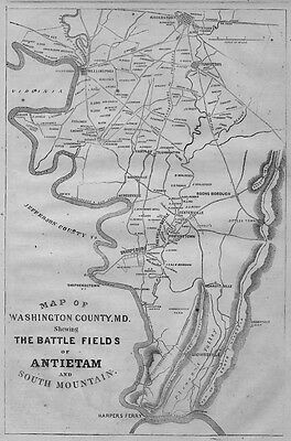 Antietam Battle Field Civil War Map Washington Maryland Harpers Ferry Sharpsburg