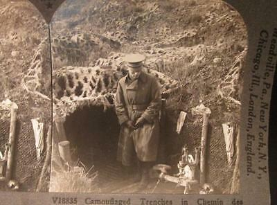 Camouflaged Trenches Chemin des Dames Hotchkiss #V18835 WWI Keystone Stereoview
