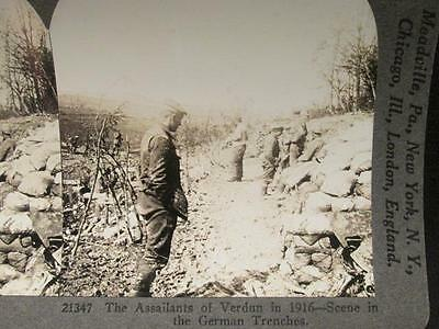 Assailants of Verdun 1916 German Trenches Scene #211347 WWI Keystone Stereoview