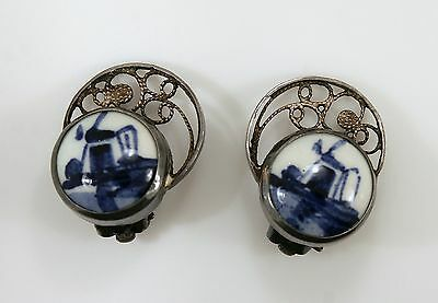 Vintage 835 Sterling Silver Blue Delfts Windmill Holland Clip On Earrings