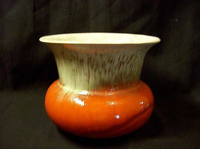 Orange & White Blended Flambe Style Spittoon Jardiniere vase