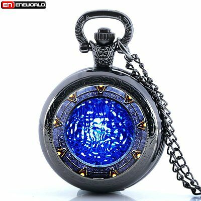 Vintage Star Gate Water Antique Pocket Watch Chain Quartz Necklace Gift New