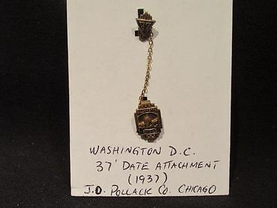 Washington DC Lapel Pin with Chain Suspended 1937 Date Attachment