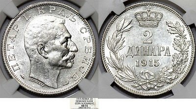 Serbia. Peter I (1903-1918). Silver 2 Dinars 1915. NGC AU55 (coin alignment)