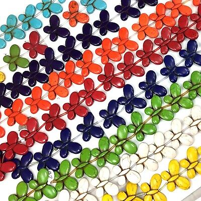 """25x35mm Magnesite Turquoise Butterfly beads 15"""" 13pcs, pick your color"""