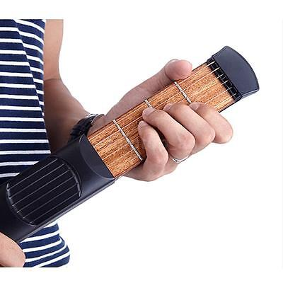 Pocket Acoustic Guitar Practice Tool Gadget 6 String 4 Fret High Quality P0WO