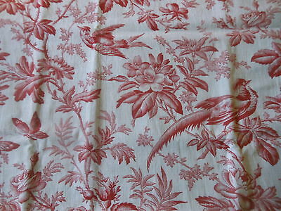 Antique French Red Bird Roses Toile Cotton Fabric ~ #2