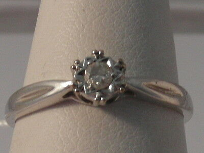 4G Ladies 9Ct White Gold Diamond Solitaire Ring  Size L 1/2