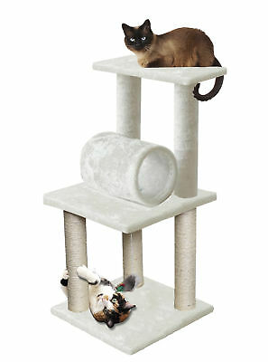 "33"" White Pet Cat Tree Play Tower Bed Furniture Scratch Post Tunnel Toy Mouse"