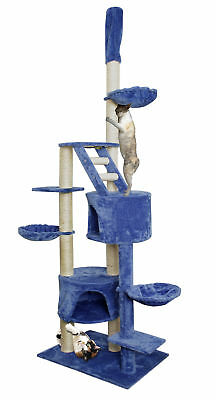 "101"" Blue White Cat Tree Play House Tower Condo Furniture Scratch Post Basket"