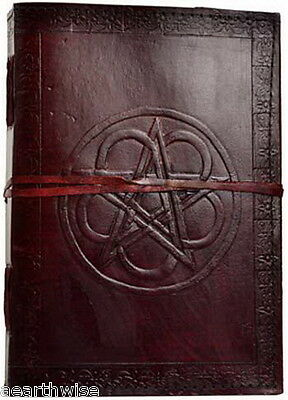 PENTAGRAM LEATHER JOURNAL Witch Wicca Pagan Book of Shadows Goth Spell PENTACLE*
