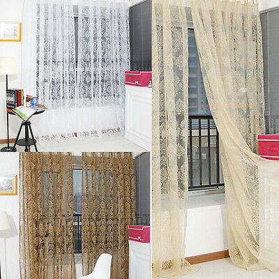 Floral Voile Door Window Screens Curtain Drape Panel Sheer Long Scarf Valances