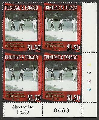 TRINIDAD & TOBAGO 2011 Dr Eric Williams CRICKET lower right CNR BLOCK MNH #0463