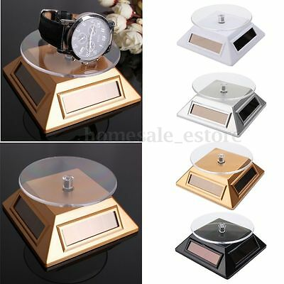 Solar Showcase 360 Turntable Rotating Jewelry Phone Watch Ring Display Stand New