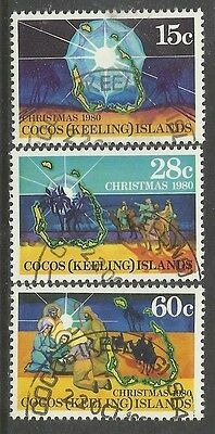 COCOS IS 1980 CHRISTMAS 3v FINE USED