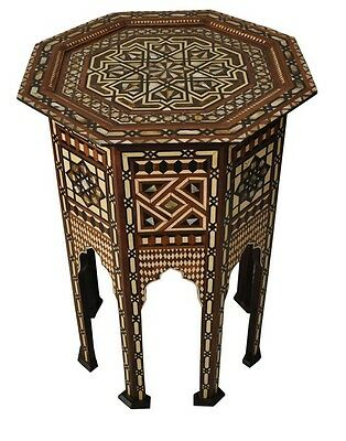"""Moroccan 28"""" Tall Mother of Pearl Wood Coffee Side Table"""