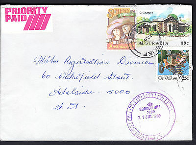 1989 Priority Paid Broken Hill NSW Australia RELIEF Frank Postal Cover to SA