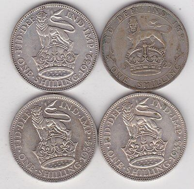 1925/1932/1933 & 1934 George V Shillings In Good Fine Condition Or Better