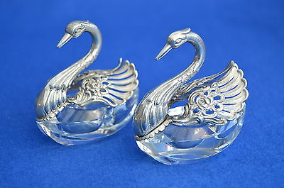 Two German 835 Silver & Glass Swan Cruets - Vintage Solid Silver - Mustard