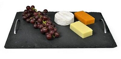 Slate Serving Tray With Chrome Handles 40cm x 28cm