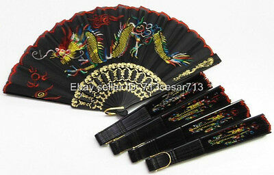1x ONE BLACK Embroidery Dragon Design Dance Wedding Party Summer Hand Fan #Dr1