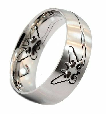 8mm Butterfly Puzzle Ring Surgical Steel 316L Stainless Steel Size 6.5