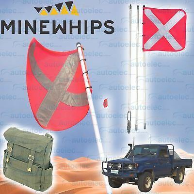 Mine Whip 3 Piece 2.5 Metre Safety Sand Dune Mining Flag & Mount 4X4  + Backpack